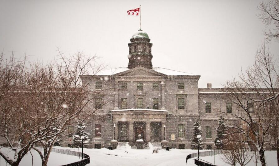 Snow-covered facade of McGill University in Canada